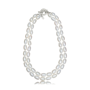 Double Oval Pearl Necklace