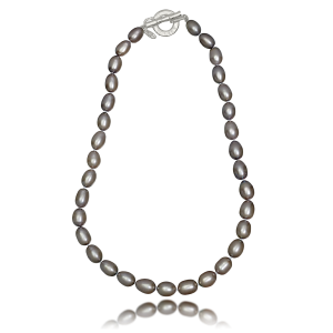"""LR 370 """"Silver"""" Oval Pearl Necklace"""