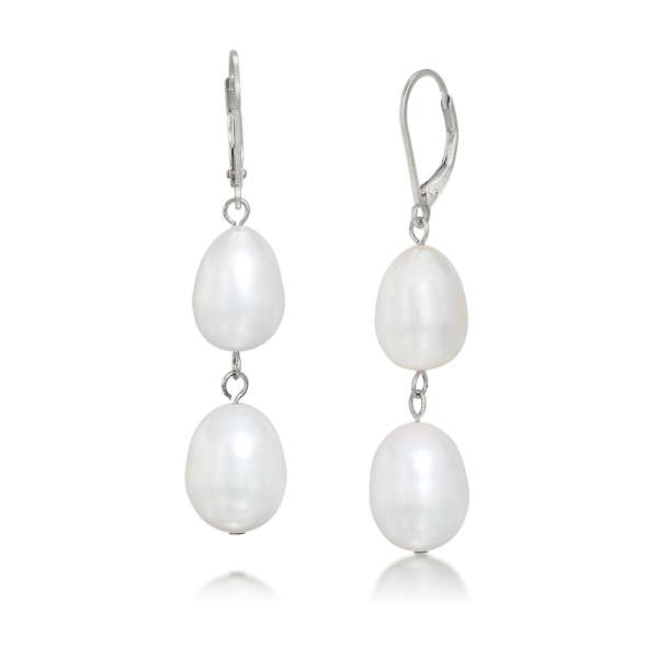 LR-195 Double White Oval Pearl Drops – French Clip