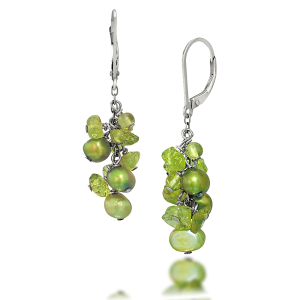 Peridot & Pearl French Clip Clusters
