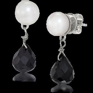 LR 291 Pearl and Black Crystal Drops