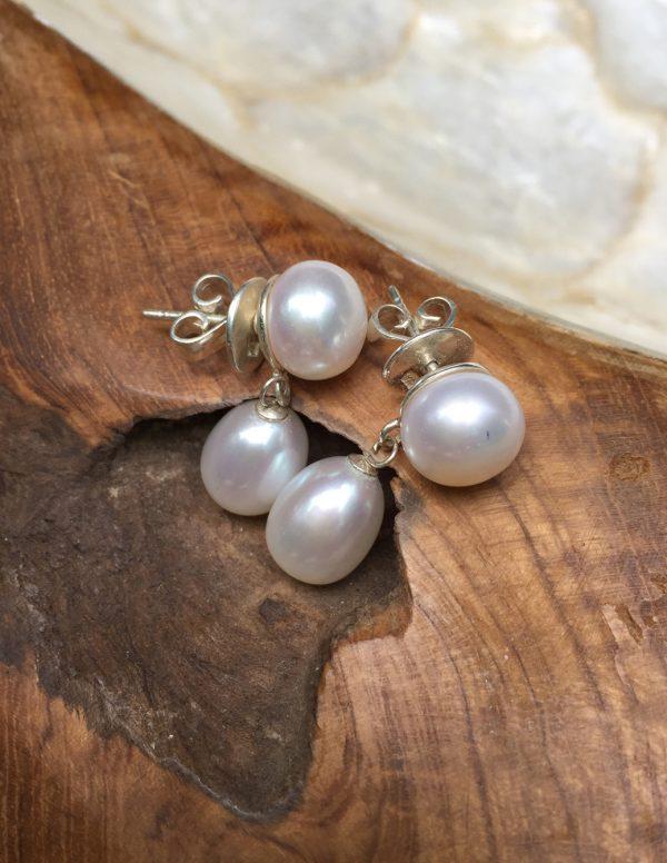 Pearl Stud Oval Pearl Drops
